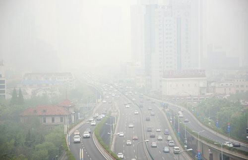A high-pollution day in Shanghai.Credit Johannes Eisele/Agence France-Presse — Getty Images